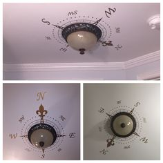 """Compass Decal around a ceiling light. I used a copper decal I found on Etsy. It looks fantastic around the bronze finished ceiling light fixture. I actually did go back after this photo and swapped the """"E"""" and """"W"""" as my father pointed out the compass wasn't pointing in the correct directions."""