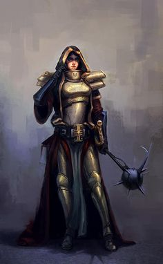 f Paladin Plate Armor Cloak Morning Star female Traveler Road fog lg Star Wars Art, Fantasy Characters, Warhammer, The Grim, St Max, Fantasy Warrior, Art, 40k Sisters Of Battle, Roleplaying Game