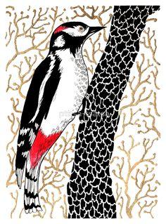 """""""Woodpecker, forest bird, watercolor & ink sketch"""" by ptitsa-tsatsa   Redbubble"""