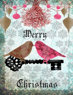 Love Birds Vintage Christmas diy printable