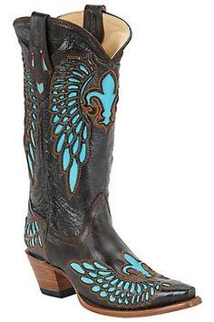 Corral Ladies Black / Brown Vintage w/ Turquoise Fleur de Lis Snip Toe Western Boots.