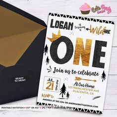 King of all wild things Printable Invitations Black and gold printable Birthday invite - Printable DIY Invitation - Personalized Invite card DIY party printables will save you time and money while making your planning a snap! Wild One Birthday Invitations, Wild One Birthday Party, Gold Invitations, Printable Invitations, First Birthday Parties, First Birthdays, Party Printables, Birthday Ideas, Lumberjack Birthday Party