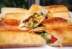 Southwestern Egg Rolls.  Sounds a little time-consuming, but they look fantastic!