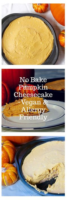 This delicious top 8 free no bake pumpkin cheesecake is just the thing you want to bring to the get together this year- its allergy- friendly and vegan so everyone at your party can enjoy!