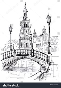 Plaza of Spain in Seville, Andalusia, Spain, Europe Travel sketch Hand drawn book illustration, touristic postcard or poster - Books Interior Architecture Drawing, Architecture Drawing Sketchbooks, Landscape Architecture, Landscape Sketch, Landscape Drawings, Pencil Art Drawings, Art Drawings Sketches, City Drawing, City Sketch