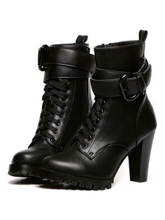 Shop Black Lace Up Chunky Heel Buckle PU Ankle Boots from choies.com .