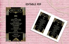 Printable Menu Card Template  Great Gatsby Style Art by StudioDMD