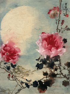 The charming Chinese painting collections of Mid-Autumn Festival: ROSE UNDER THE MOONLIGHT. Artist: Yang Shanshen (1913-2004)
