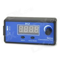 HJ Digital Servo Tester / ESC Consistency Tester for R/C Helicopter. Brand: HJ - Material: Plastic - Color: Blue + black - Input voltage: DC 5~6V - Output signal width: 800~2200us - Can be synchronized output control 4 servos and used to compare the performance steering gear control of the steering servo output signal can be accurate to 2us (1 milliseconds = 1000 microseconds), you can test the steering gear is able to respond to subtle changes - With PPM signal test function in the display…
