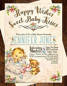 """""""Sweet Baby Kisses"""" Baby Shower Invitations Vintage Teddy Bear - Brought to you by Avarsha.com"""