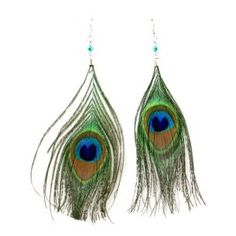 Funky Peacock Feather Earrings - FunkyAccessories.com - Polyvore