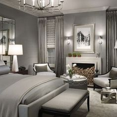 Grey ! Add some red and black and this is the bedroom I want