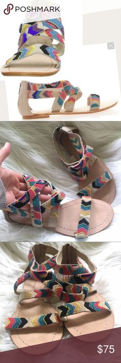 Antik Batik beaded chevron suede Gladiator sandals These are in excellent condition – only some minor scuffing on the soles, possibly worn indoors. Neutral Suede with Mexican artisan inspired beading in a Chevron design. Size 39. Antik Batik Shoes Sandals