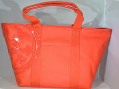 Tory Burch Canvas Small Tote Authentic Poppy Red New Bag Large Logo $195 | eBay