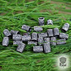 Viking Runes beads. Beads for Beards or Hair Viking Rune Elder Futhark Rune pendant Rune necklace viking jewelry