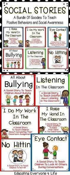Social Stories are a great tool to teach children positive behaviors and to promote social awareness. This social stories bundle includes printable social stories and desk cards. These social stories are a great way to teach positive classroom behaviors.