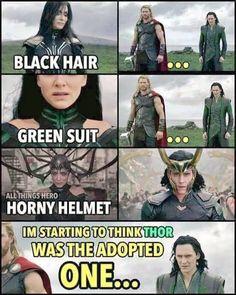 Hela, Black of hair. Loki, Black of hair. Thor, gold of hair. CSI: Asgard<<<<<<<< ugh ppl should know that Thor is NOT Loki's brother! Odin is Loki's brothers! Loki Meme, Avengers Humor, Marvel Jokes, Funny Marvel Memes, Funny Jokes, Hilarious, Loki Thor, Loki Laufeyson, Thor Jokes