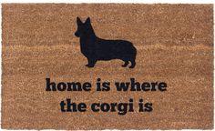 Home is where the corgi is door matt. Product design