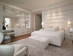 Posh all-white bedroom design idea - Decoist