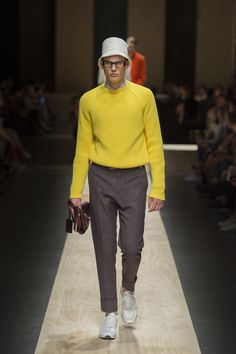 Yellow round neck ribbed cotton sweater,  white and blue checked cotton shirt, blue cotton trousers, white calfskin laced sneakers, dark brown polished calfskin belt, calfskin bag with macro zip #canaliss15 #mfw #ss15