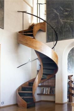 I really want a spiral staircase in my house. I really want a spiral staircase in my house. Architecture Design, Stairs Architecture, Installation Architecture, Architecture Interiors, Escalier Design, Staircase Design, Wood Staircase, Wooden Stairs, Winding Staircase