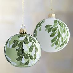 ~ Mistletoe Ball Ornaments ~ Cheap ornament, paint & medium brush....Now you have an expensive looking ornament....