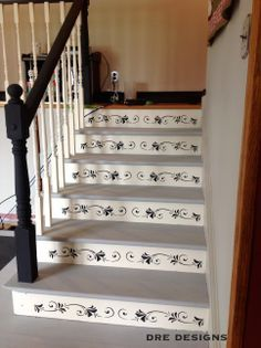 Graphite Runner On White Painted Wooden Staircase Sealed