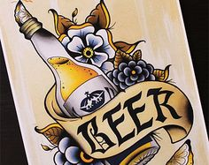"""Corona Beer 11""""x14"""" Traditional Tattoo Flash Print (Other sizes available)"""