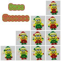 Christmas Minions hama perler beads by Love Cupcoonka - www.facebook.com/hamabeadshobby