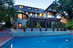 Terraced Gardens and Pool at Summit Avenue Mansion
