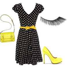 I generally can't wear yellow, but I could wear it like this! - created by cookieemerson on Polyvore