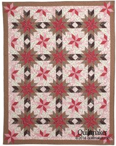 Chocolate Covered Cherries quilt pattern: Eight-pointed stars take center stage in this classic throw-sized quilt pattern designed by Will Bennett.