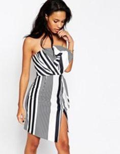 Sexy and fun ASOS Bow Bandeau Stripe Print Dress - Multi #printdress #women #covetme