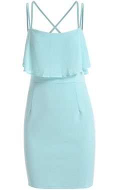 Blue Spaghetti Strap Ruffle Bodycon Dress