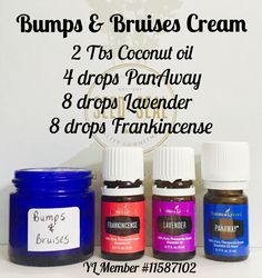 Bumps & bruises cream using Frankincense, Lavender, and PanAway essential oils - all included in Young Living premium starter kits. Visit link to start an oily journey of your own! Essential Oil For Bruising, Frankincense Essential Oil Uses, Essential Oil Starter Kit, Essential Oils For Babies, Ginger Essential Oil, Yl Essential Oils, Young Living Essential Oils, Essential Oil Blends, Yl Oils
