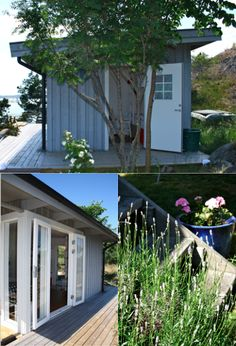 studio karin: FRIGGEBOD I SKÄRGÅRDEN - NYA VERSIONEN Bungalow, My Dream, Small Spaces, Restoration, Garage Doors, Shed, Outdoor Structures, Colours, Studio