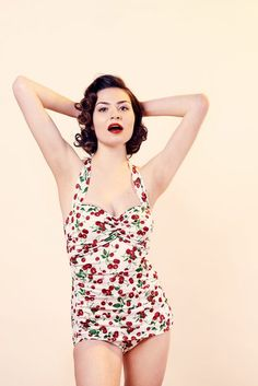 5b66a5baa20 Esther Williams Cherry Print on White Vintage Swimsuit with Tummy Control