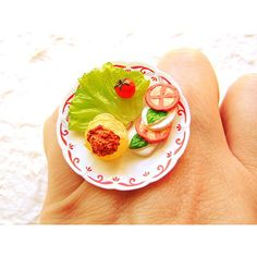 Pasta Cheese Tomato Food Miniature Ring Jewelry by SouZouCreations ($8.90) via Polyvore