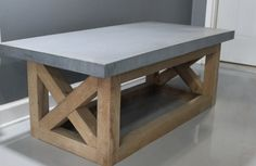Coffee Table Concrete Table Reclaimed Urban Wood Rustic Modern Coffee Table…