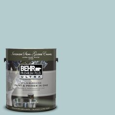 BEHR Premium Plus Ultra 1-gal. #UL220-8 Clear Pond Interior Semi-Gloss Enamel Paint-375001 - The Home Depot