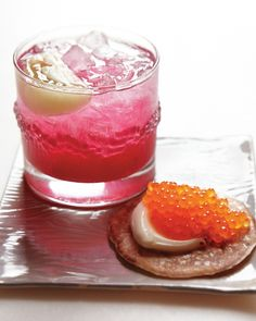 Beet and Lemon Shrub Cocktail recipe from Russ and Daughters naturally pairs well with trout roe ~ via Martha Stewart