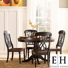 Oxford Creek 5 Piece Casual Country Antique Black Round Dining Table Set H
