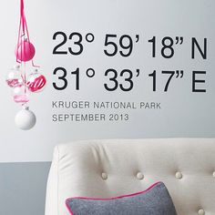 Personalised Coordinates Wall Sticker by Oakdene Designs, the perfect gift for Explore more unique gifts in our curated marketplace. Vinyl Wall Stickers, Sticker Shop, Wall Decals, Wall Art, Crafts With Pictures, Graphic Design Print, Flat Color, Interior And Exterior, Interior Design