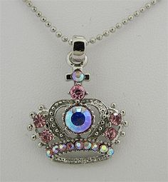 Royal Juicy Crown Pink Crystal Necklace comes in many colors at wholesale for resale - great items for Valentines