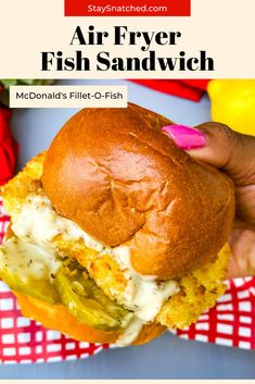 This Air Fryer Cod Fish Sandwich recipe is quick and easy to make using fillets breaded with panko and topped on a brioche bun with melted cheese, pickles, and tartar sauce. Cut the fat and make this healthy dish right at home. #AirFryer #AirFryerFish Air Fryer Dinner Recipes, Air Fryer Oven Recipes, Air Fry Recipes, Delicious Dinner Recipes, Fish Recipes, Seafood Recipes, Healthy Dishes, Healthy Food, Healthy Recipes