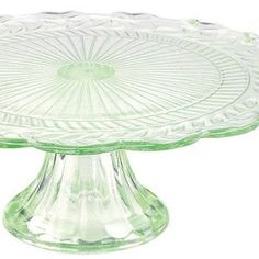 Green depression glass cake stand