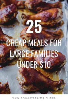 25 Cheap Meals for Large Families! All meals feed 6 or more people for less than $10.   Recipes include Instant Pot, Crockpot, Soup, Meat and Pasta meals.  Bookmark this page for family meals! Dinner For Crowd, Meat For A Crowd, Cooking For A Crowd, Budget Family Meals, Large Family Meals, Easy Meat Recipes, Pasta Recipes, Dinner Recipes, Kielbasa And Cabbage