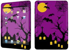Amazon.com: Purple & Black {Spooky Halloween} Front and Back Full Body Adhesive Vinyl Decal Sticker for iPad Mini 1st Generation Models A1432, A1454 and A1455 (No Air Bubbles - Removable Residue Free Skin}: Computers & Accessories