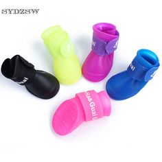 SYDZSW Outdoor Dog Supplies Puppy Pet Boots Waterproof Chihuahua Dog Shoes Rubber Candy Colors Rain Boots Protective Anti Slip