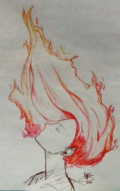 Not mine. Just wanted to share this. Right to the owner Anime Drawings Sketches, Cool Drawings, Pencil Drawings, Fire Sketch, Fire Hair, Deviantart Drawings, Fire Drawing, Painting & Drawing, Pencil Drawing Tutorials